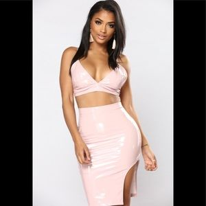 Faux pink leather skirt and top